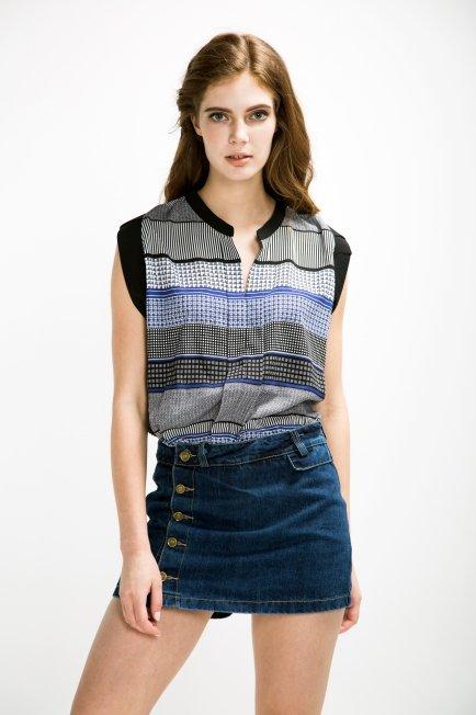 Denim Mid Waist Skort | Melani di moda