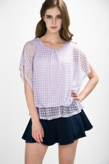 Lace Short Sleeve Blouse | Melani di moda