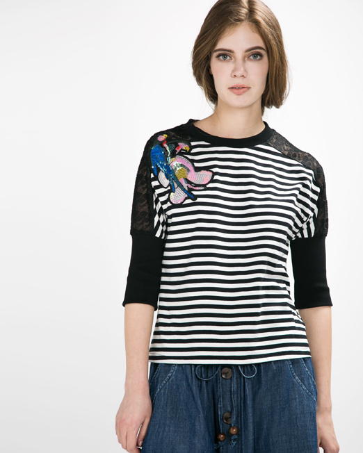 Stripe Beaded Badge Top | Melani di moda