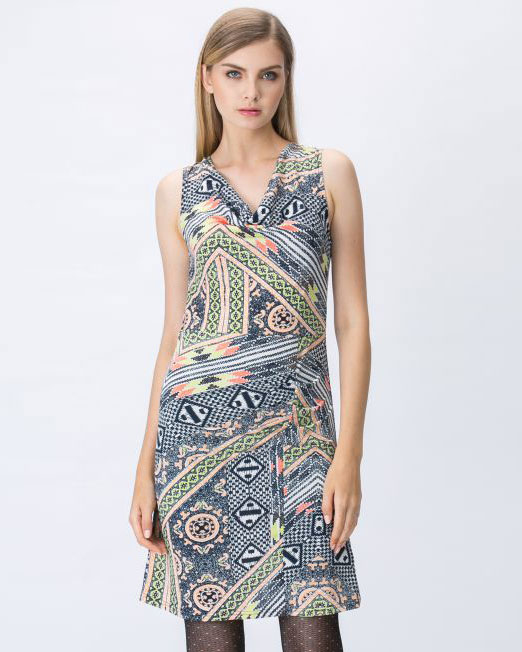 Print Sleeveless Drape Dress | Melani di moda