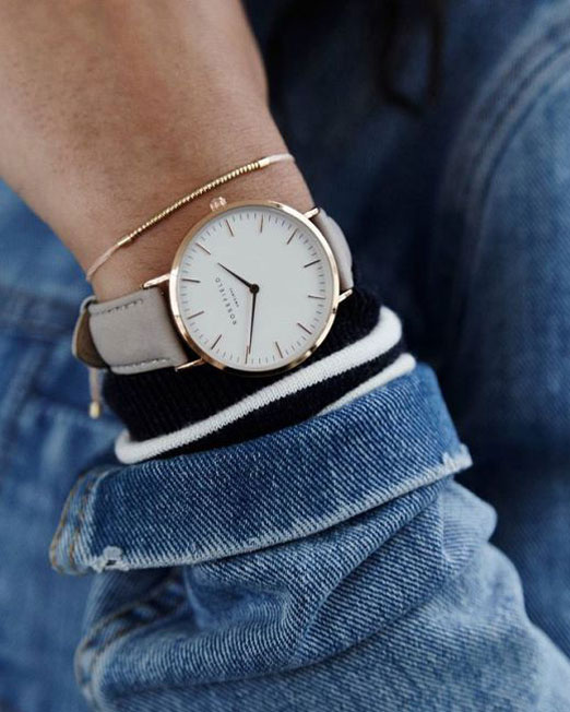 Rosefield The Bowery Collection White Grey Rose Gold Watch | Melani di moda