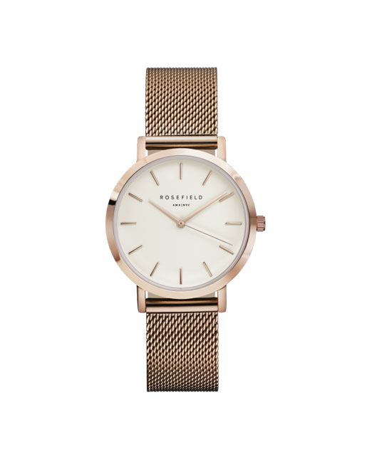 Rosefield The Tribeca White Rose Gold Watch | Melani di moda