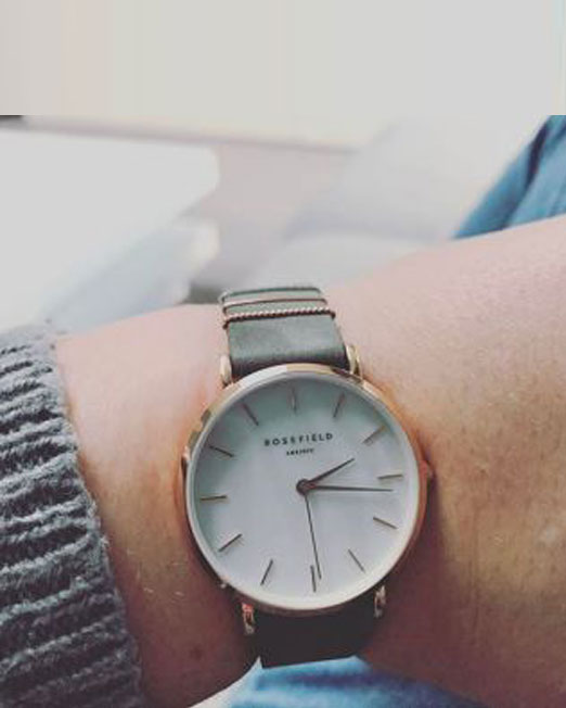 Rosefield The West Village Elephant Grey Rose Gold Watch | Melani di moda