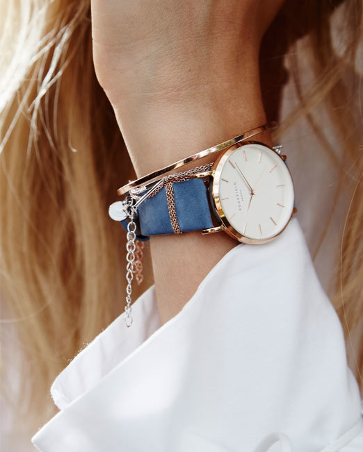 Rosefield The West Village Airy Blue Rose Gold Watch | Melani di moda