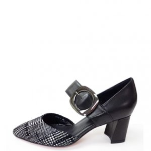 MELANI Black and White High Heel Pumps with Strap | Melani di moda