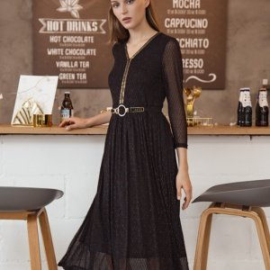 H8A2813M81 Embroidered black mesh dress 2