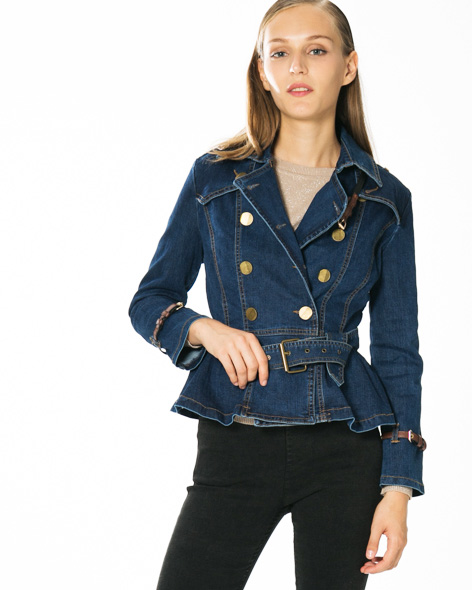 MLN Jeans belted denim blazer jacket