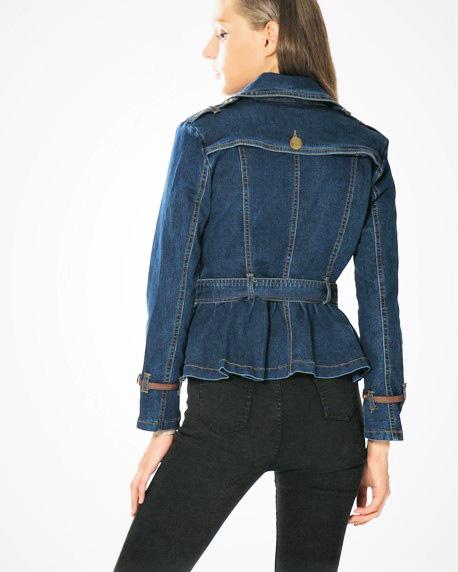 MLN Jeans belted denim blazer jacket