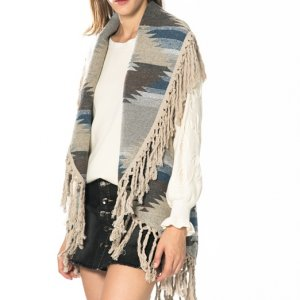 Ethnic graphic poncho with fringing MLN Jeans denim skort