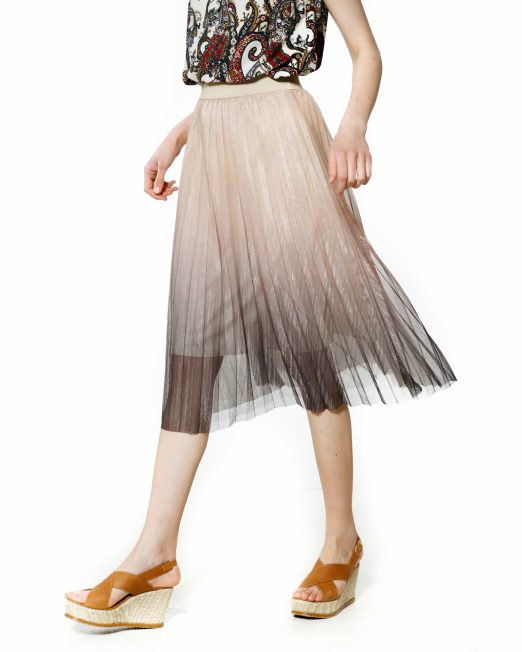 MELANI PLEATED TULLE MIDI SKIRT-U9F4189